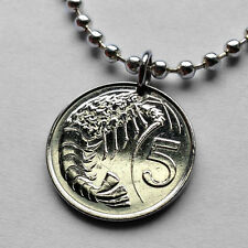 UK Cayman Islands 5 cents coin pendant Pink-spotted shrimp necklace n001155