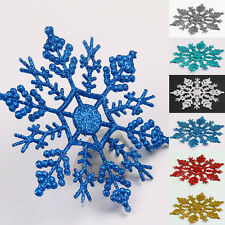12 Pcs Hanging Home Decoration Glitter Snowflake Christmas Ornaments Xmas Tree