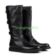 Mens 100% Cow Leather Flats Round Toe Combat Side Zip Buckle Punk Boots Shoes 44