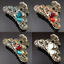 ADD'L Item FREE Shipping - Rhinestone Crystal Antiqued Butterfly Hair Claw Clip