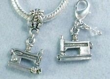 Sewing Machine Silver Charms For Bracelets Slide On Bead, Clip On USA Pewter