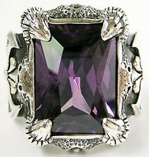 HUGE AMETHYST DRAGON CLAW STERLING 925 SILVER RING NEW BIKER MENS JEWELRY