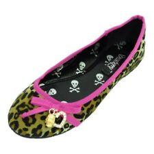 WOMENS LADIES PINK LEOPARD PUMP DOLLY FLAT BALLET PUNK BALLERINA SHOES SIZE 3-8