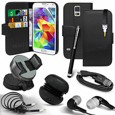8 in 1 Bundle Accessory Leather Case Car Holder Speaker For Samsung Galaxy S5