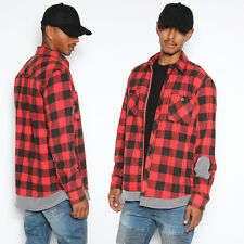 TheMogan Men's Layered Look Patch Long Sleeve Pocket Flannel Plaid Shirt Jacket