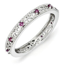 Rhodolite Garnet Swirl Ring .925 Sterling Silver Size 5-10 Stackable Expressions