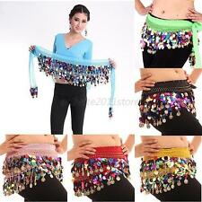 Chiffon Belly Dance Costume Hip Scarf Skirts Colorful Sequin Coins Waist Belt