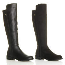 WOMENS LADIES LOW HEEL STRETCH ZIP RIDING SMART CONTRAST CALF KNEE BOOTS SIZE