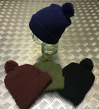 Knitted Retro Beanie Hat / Watch Cap / Ski Hat with Pompom - All Colours - NEW