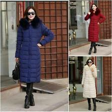 Womens Fur Duck Down Parka Winter Hooded Coat Jacket Long Lady Outerwear Hot New