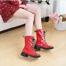Womens Patent Leather Casual mid calf Boots Lace Up Flat Booties cosplay Shoes