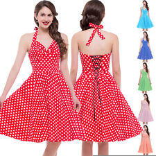 Womens Vintage 50s Retro Polka Dots Pinup Housewife Party Swing Dress S M L XL