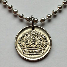 Sweden 10 ore coin pendant Swedish necklace Silver CROWN Sverige Viking n001275