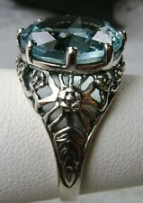 6ct *Blue Aquamarine* Solid Sterling Silver Crown Filigree Ring Size Any/MTO