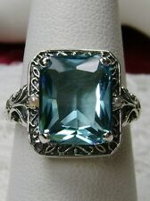 4ct *Aquamarine* & Pearl Sterling Silver 925 Art Deco Filigree Ring Size Any/MTO
