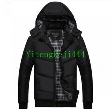 Mens Jacket Puffer Quilted Winter Hooded Cotton Padded Coats Outerwear New YT