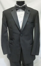 Modern Black Perry Ellis Wool Tuxedo Set Slim Lapel Jacket Pants Tie James Bond