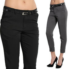 TheMogan S~3X Simple Drapey Tapered Leg Cuffed Crop Trousers Office Work Pants