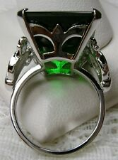 30ct *Green Emerald* Sterling Silver Vintage Filigree Ring Size: {Made To Order}