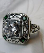 *Emerald* & White Gem Deco 1930's Sterling Silver Filigree Ring {Made To Order}