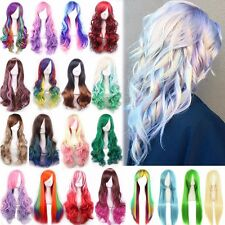 """Colorful Women Wig 24"""" 32"""" 40"""" Long Curly Straight Wavy Full Wigs Cosplay Play #"""