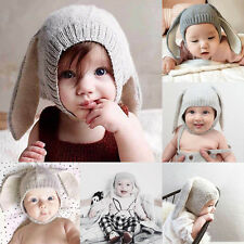 Wool Lined Soft Crochet Earflap Beanie Hat Newborn Baby Kids Warm Cap