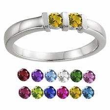 10K White Gold Round-cut 2-Stones Mothers Ring