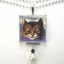 ALICE IN WONDERLAND CHESHIRE CAT VINTAGE CHARM SILVER OR BRONZE PENDANT NECKLACE