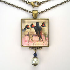 "BARN SWALLOW BIRD ""VINTAGE CHARM"" BRONZE OR SILVER ART COLLAGE PENDANT NECKLACE"