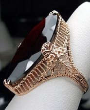 17ct Natural Red Garnet Victorian Filigree 10k Rose Gold Ring ({Made To Order})