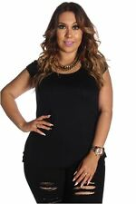 DEALZONE Solid Print Ruched Side Top 2X Women Plus Size Black Short Sleeve USA