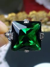 12ct Square *Emerald*Solid Sterling Silver Victorian Filigree Ring Size: Any/MTO