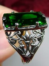 7ct Baguette *Emerald* Sterling Silver Victorian Filigree Ring {Made To Order}