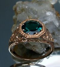 1ct Green Emerald Gem Solid 14k Rose Gold Victorian Filigree Ring Size {Any/MTO}