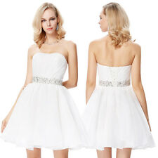 New White Simple Short Bridesmaid Dress Mini Homecoming Party Prom Cocktail Gown