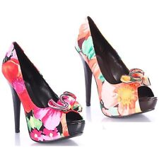 Qupid Peep toe Floral Ruffle Pumps High Heel Platform Women's Shoes US sz.7.5