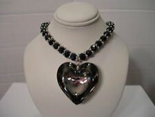 NEW LARGE BLACK CRYSTAL HEART PENDANT AND BLACK FACETED BEAD NECKLACE