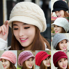 Women's Ladies Winter Warm Plain Beret Baggy Beanie Knit Crochet Hat Slouchy Cap