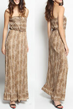 TheMogan Strapless Brown Leopard Print Tiered Blouson Maxi Dress Summer Beach S