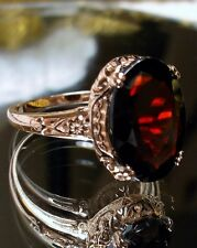 7ct Natural Garnet 10k Rose Gold Edwardian Floral Filigree Ring {Made To Order}