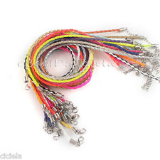 Lots PU Leather Braid Rope Hemp Cord Lobster Clasp Chain Necklace DIY 46CM