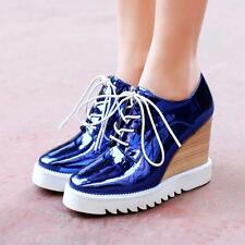 Spring Womens platform High Wedge Heel Lace Up Flat Pump Shiny Shoes Creeper Hot