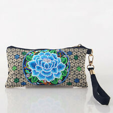 Ethnic Style Women Embroidered Peony Clutch Casual Wrist Bag Floral Coin Purse