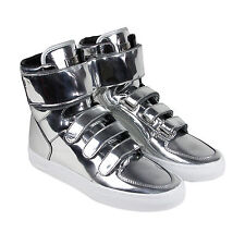 Radii Point Mens Silver Leather High Top Lace Up Sneakers Shoes