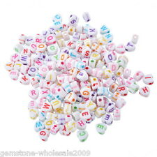 Wholesale W09 Acrylic Alphabet Beads Engrave Letters Jewelry Finding Mixed