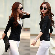 WOMEN LADIES CASUAL LONG SLEEVE OFFICE BLOUSE T SHIRT WORK TOP PLUS SIZE 8-14-18
