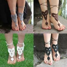 Women Bridal Beach Crochet Barefoot Sandals Foot Jewelry Ankle Bracelet Anklet