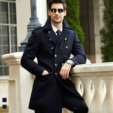 Mens Military Double Breasted long trench British Peacoat Wool blend formal Coat