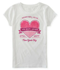 aeropostale kids ps girls' forever love graphic t shirt white