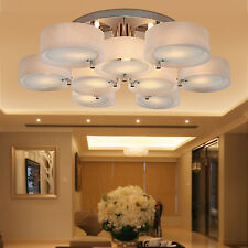 Modern Fixture Ceiling 9 Light Lighting Chrome Acrylic Pendant Chandelier Lamp